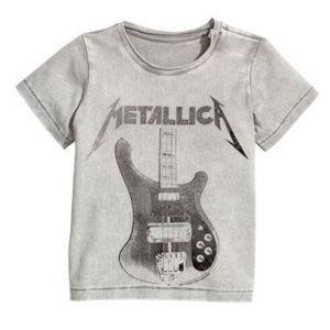 H&M Metallica Graphic T-Shirt Acid Wash 4-6 Months
